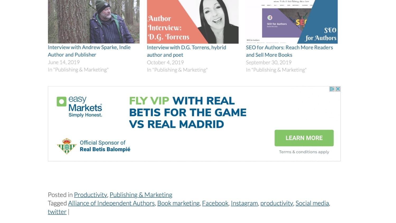 Annons visas under WordPress-innehåll