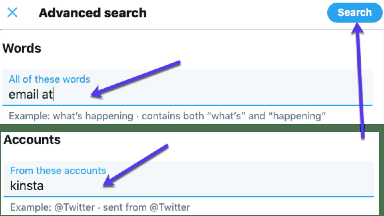Använd Twitter Avancerad sökning för att hitta e-post