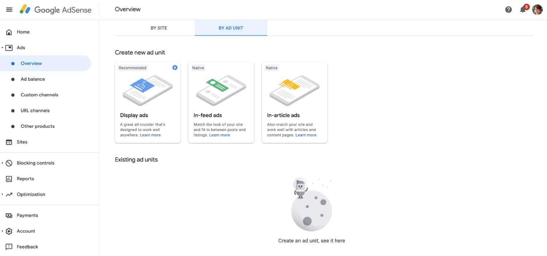 Fliken Annonsenhet i Google Adsense