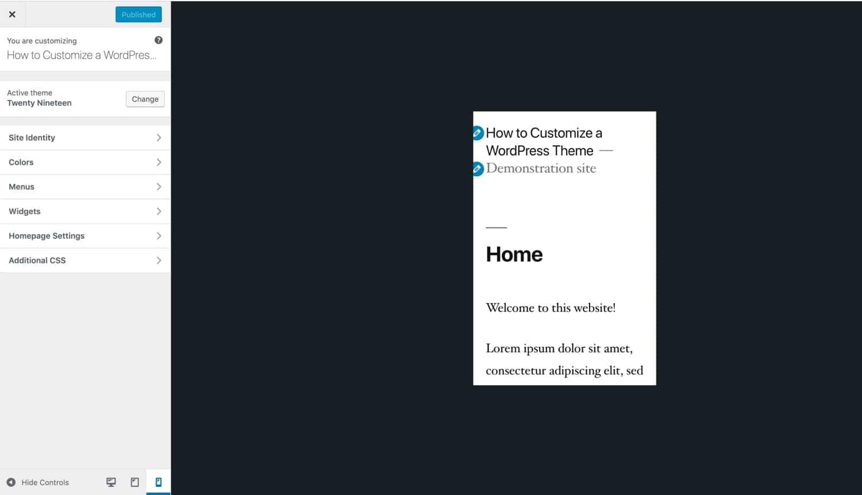 Responsiva verktyg i WordPress Customizer