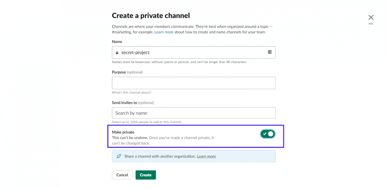 Skapa en privat kanal i Slack