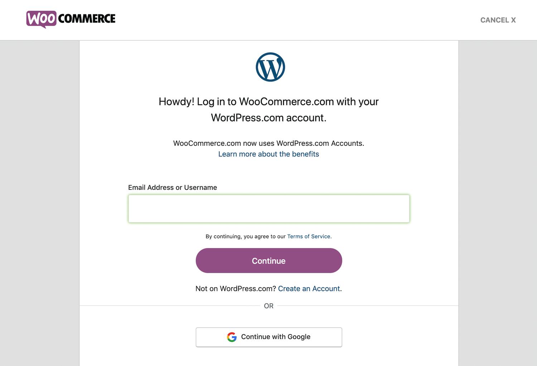 WooCommerce-inloggningsformuläret för inköpsprocessen