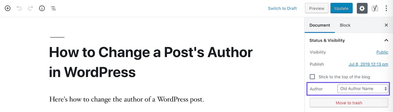 Ändra författare i Blockredigeraren