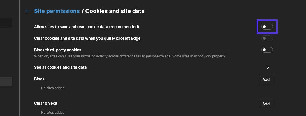 Se till att Edge tillåter att cookies sparas