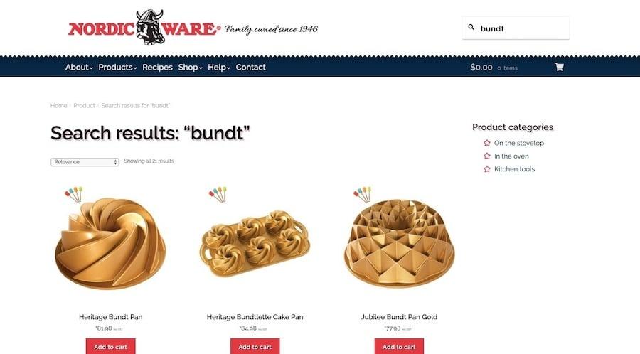 Nordic Ware: sökresultatsida