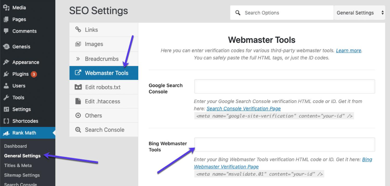 RankMath Bing Webmaster Tools-konfiguration