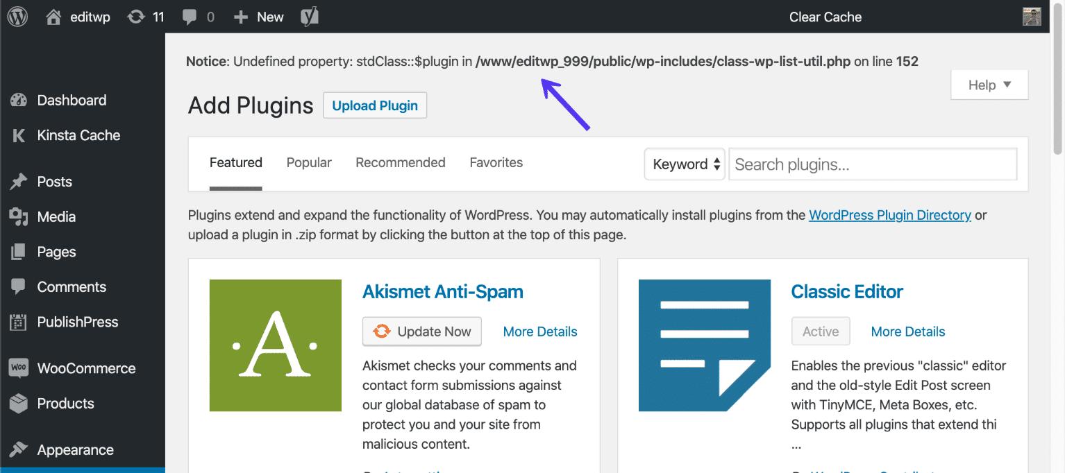 WP_DEBUG-exempel på ett fel på en WordPress-webbplats