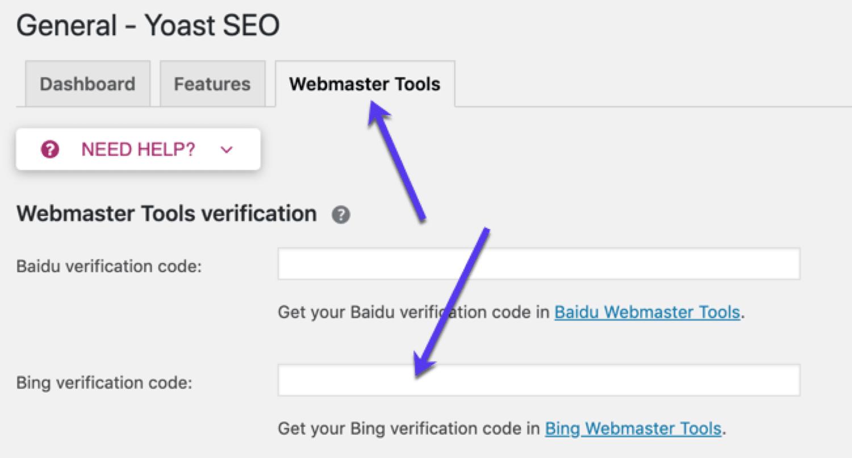 Yoast SEO Bing Webmaster Tools-konfiguration