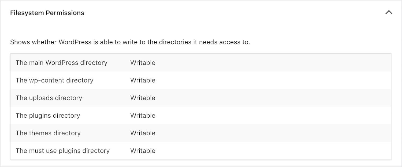 WordPress Webbplatshälsoverktyg Filsystemsbehörighetskontroll