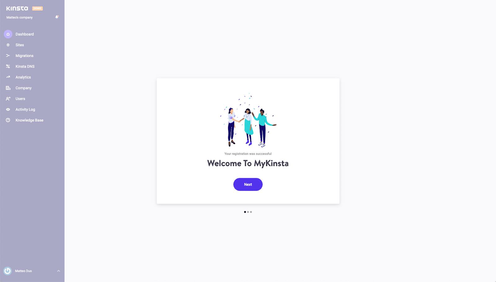 Demokonto skapat för MyKinsta
