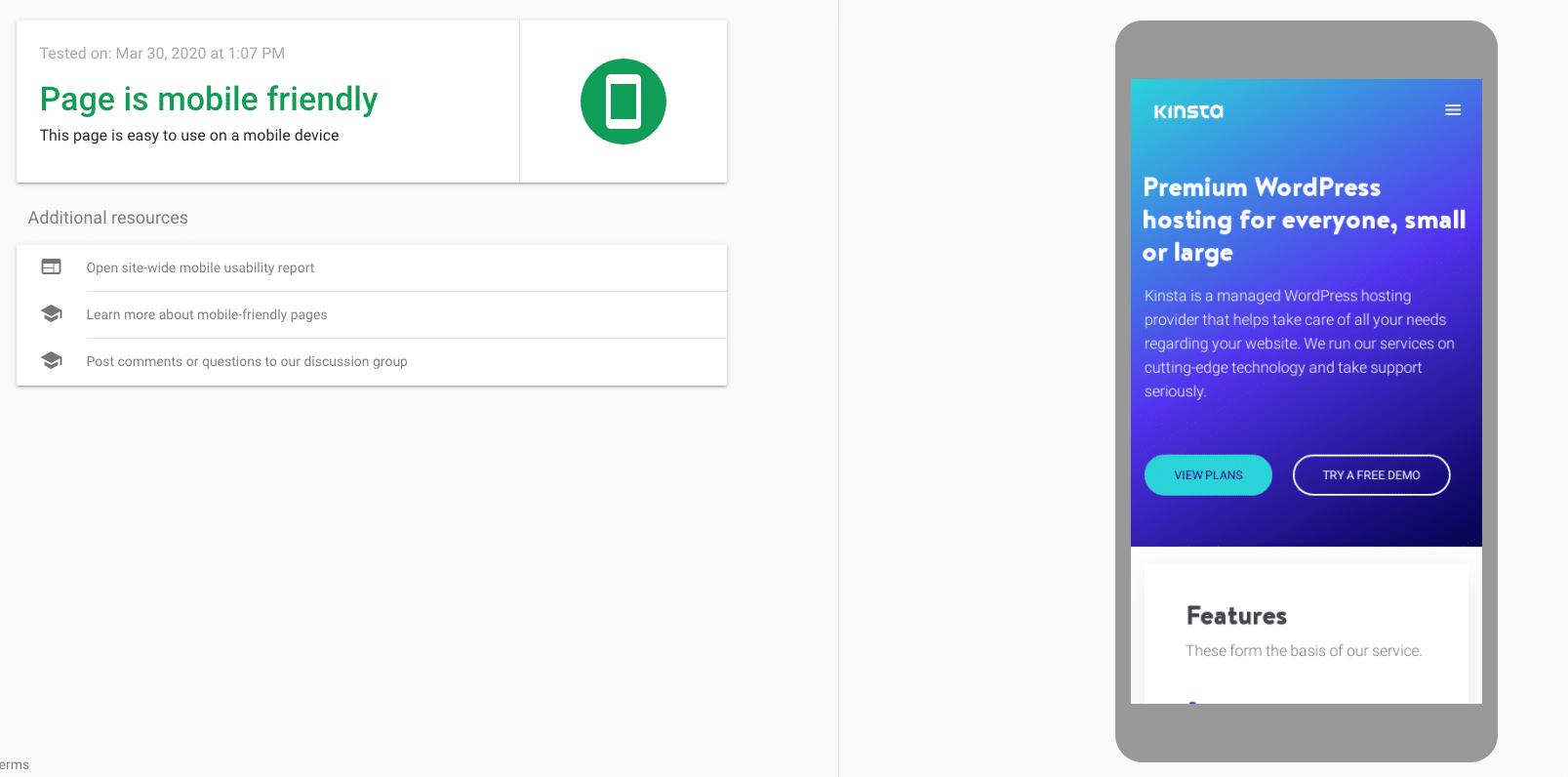 Kinstas webbplats i Googles mobilvänliga test.