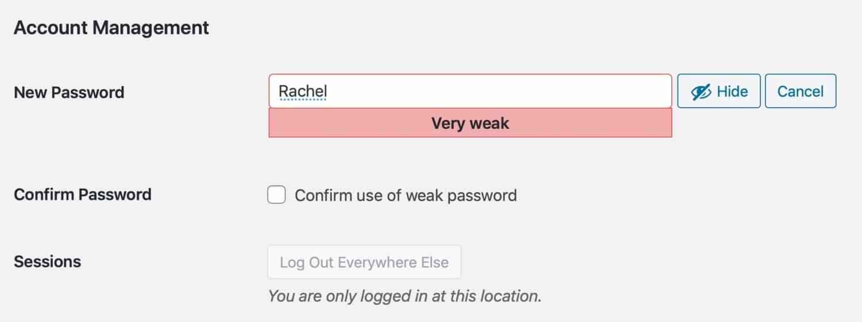 Återställning av lösenord – svagt