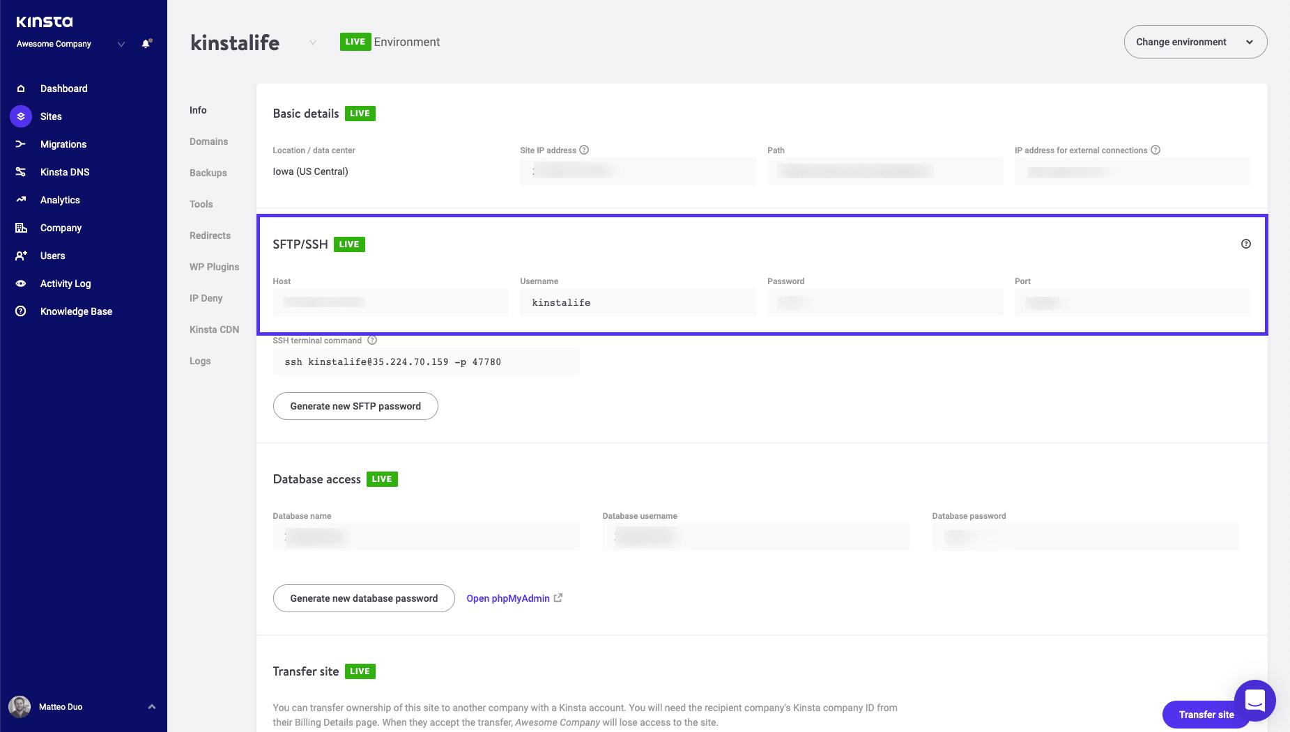 FTP-autentiseringsuppgifter i MyKinsta