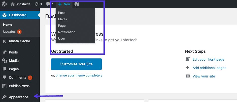 Instrumentpanelen i WordPress