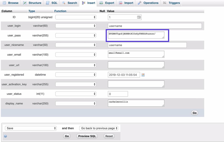 Redigera lösenordet i fältet user_pass