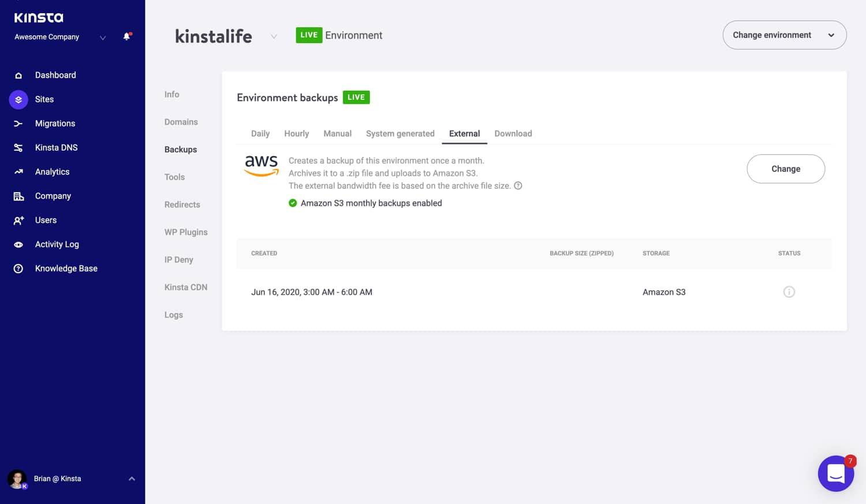 Amazon S3 externt säkerhetskopierings-tillägg.