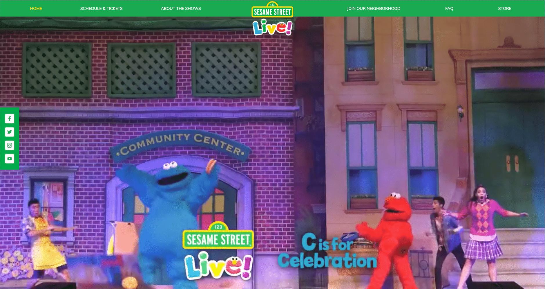 Sesame Street Live, seriens live-prestanda biljettnav