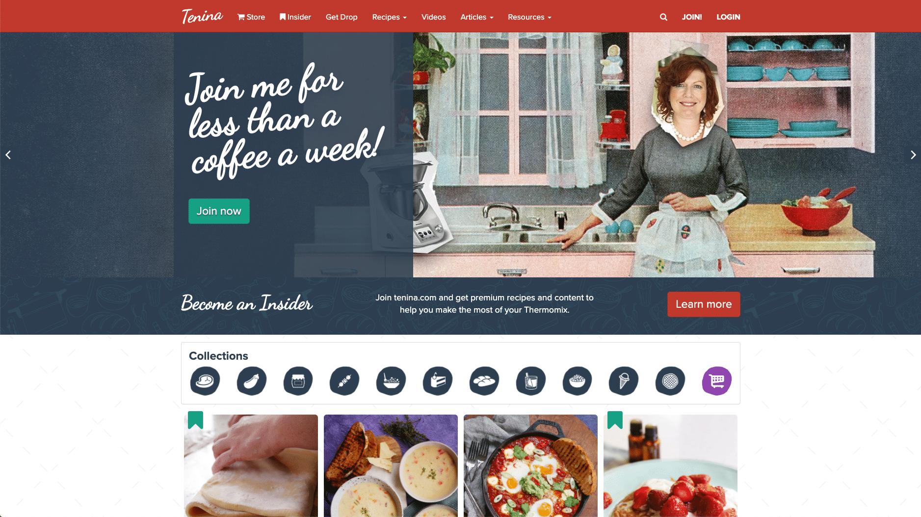 Tenina, kokböcker och köksartiklar