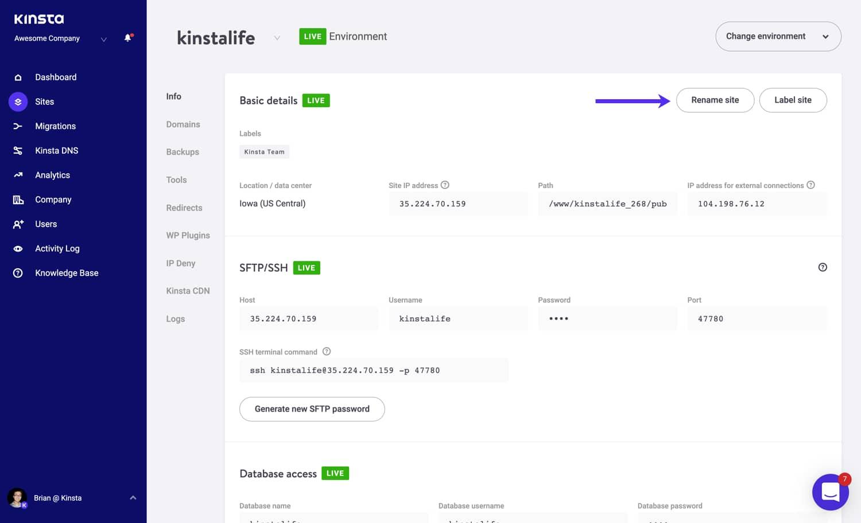 Byt namn på din Kinsta WordPress-sajt.