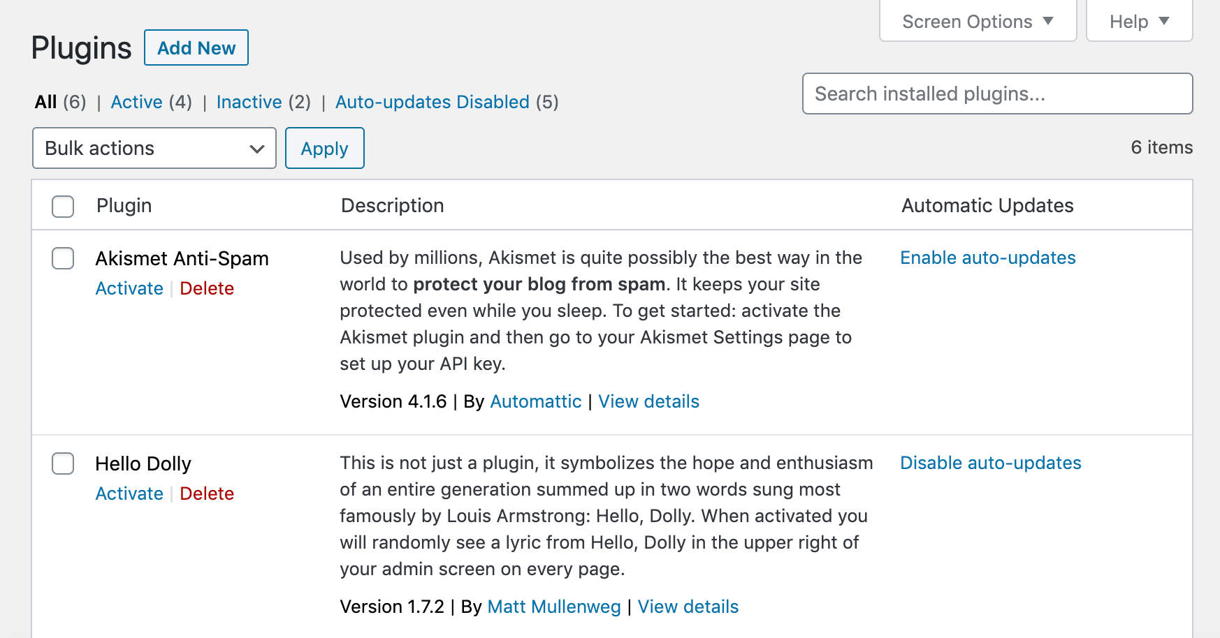 Aktivera automatiska uppdateringar för plugins