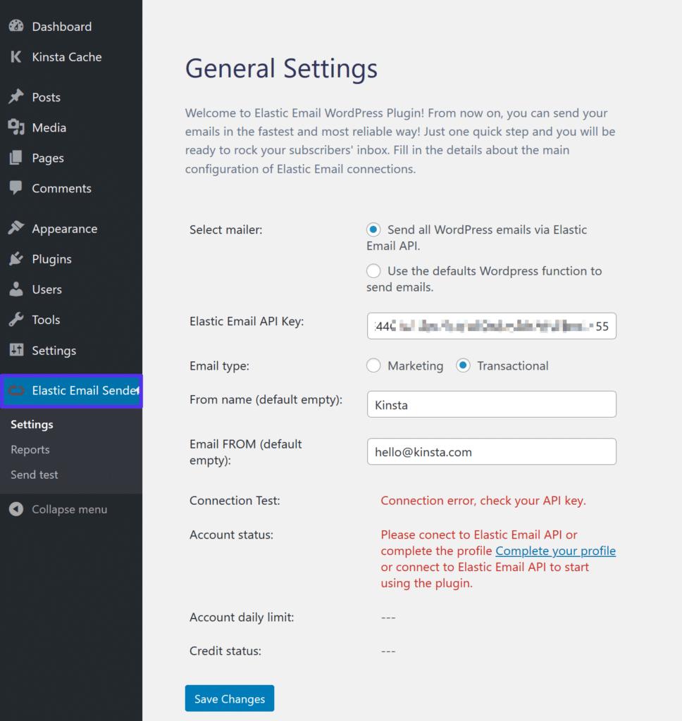 Lägg till Elastic Emails API-nyckel till WordPress-pluginet