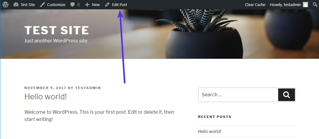 Exempel på WordPress-verktygsfältet