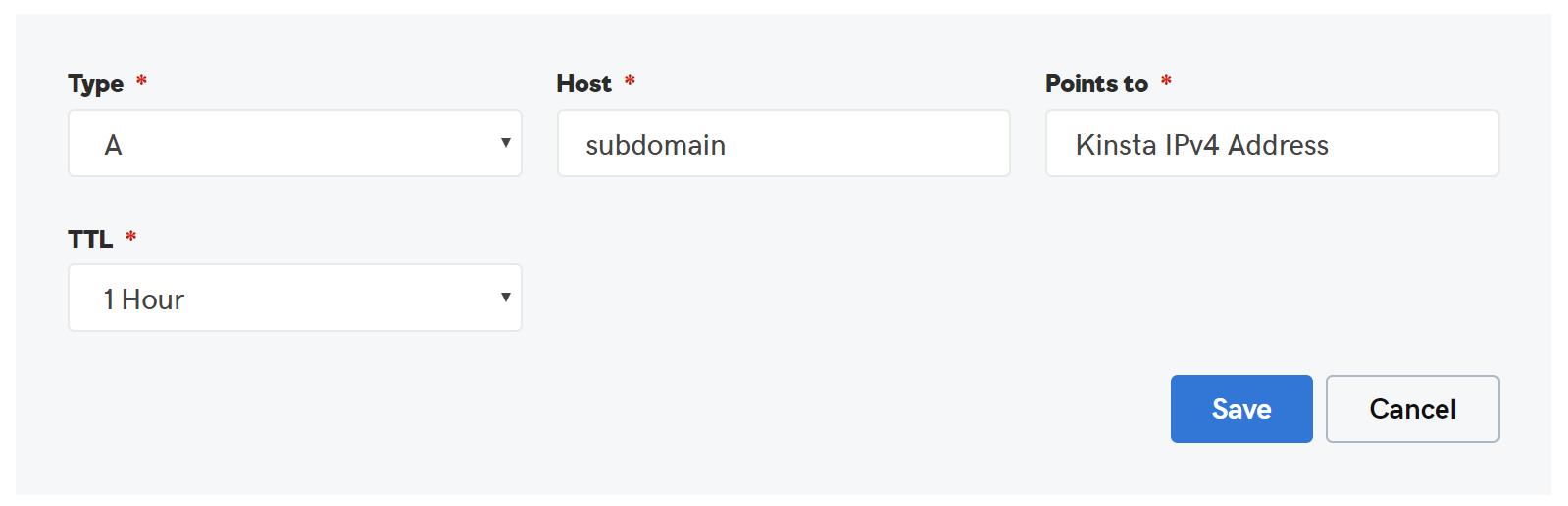 GoDaddy subdomän A-post
