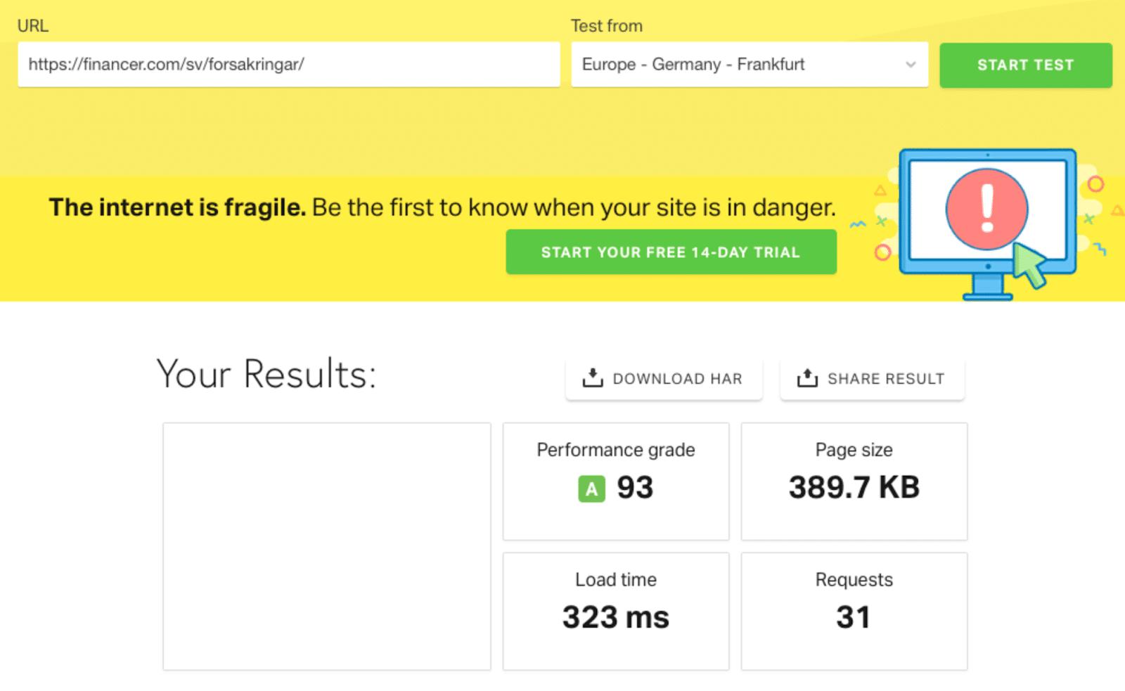 Till slut har vi fått ner det till 323 ms.