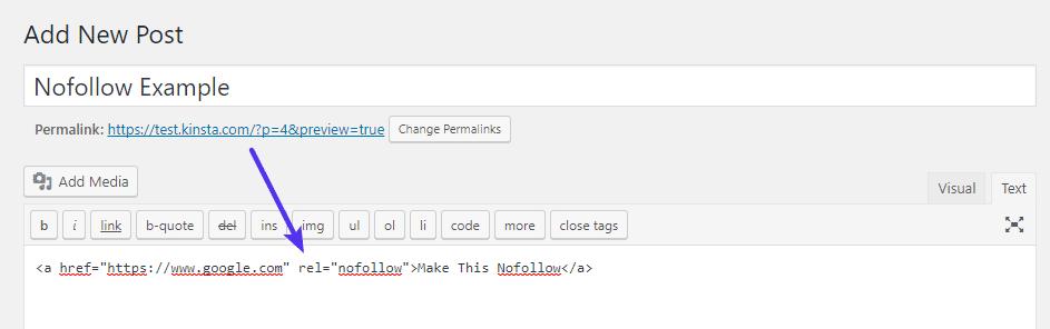 Lägg till nofollow-attribut till länkens HTML-kod