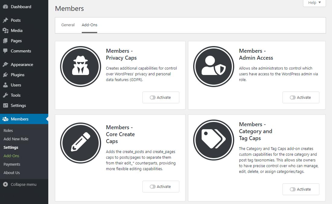 Olika tillägg för Members-pluginet