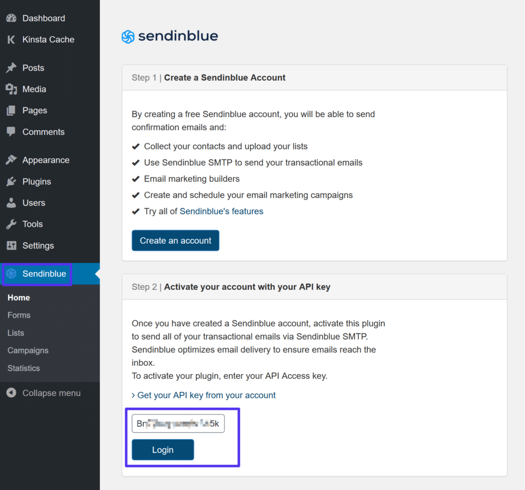 Lägga till API-nyckel i Sendinblue-plugin-inställningar