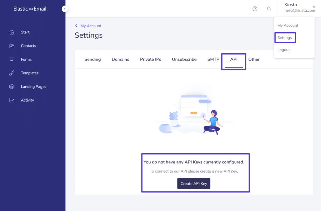 Skapa en API-nyckel för Elastic Email