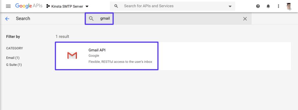 Sök efter Gmail-API:et