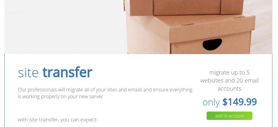 Ett webbplatsmigrerings-erbjudande på Bluehost.