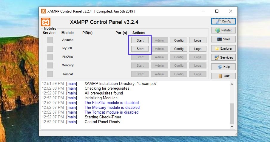 XAMPP´s kontrollpanelen