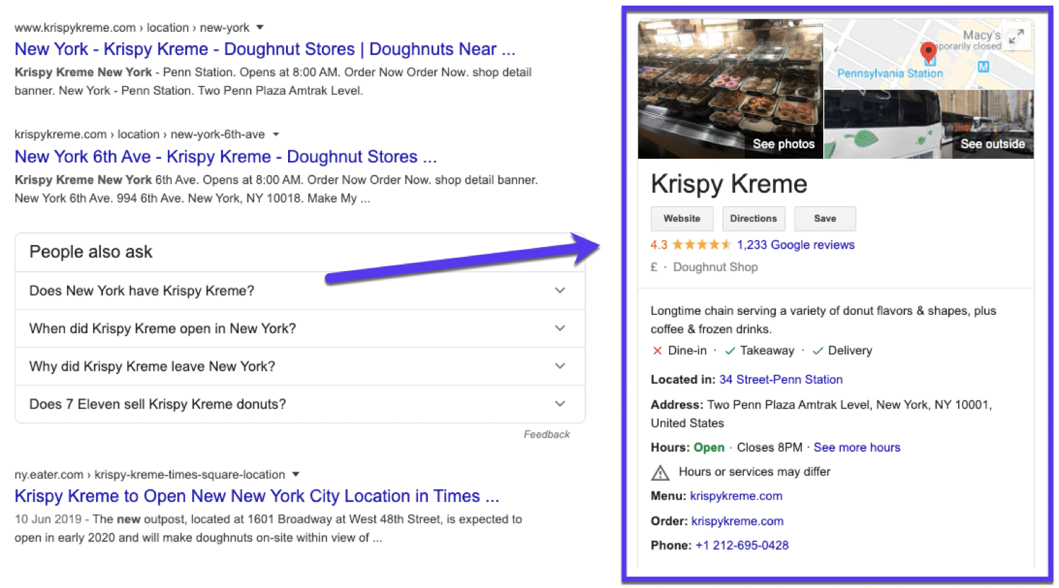 Ett exempel på en Google My Business-listning