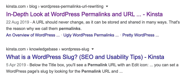 Google resultat – WordPress-permalänkar