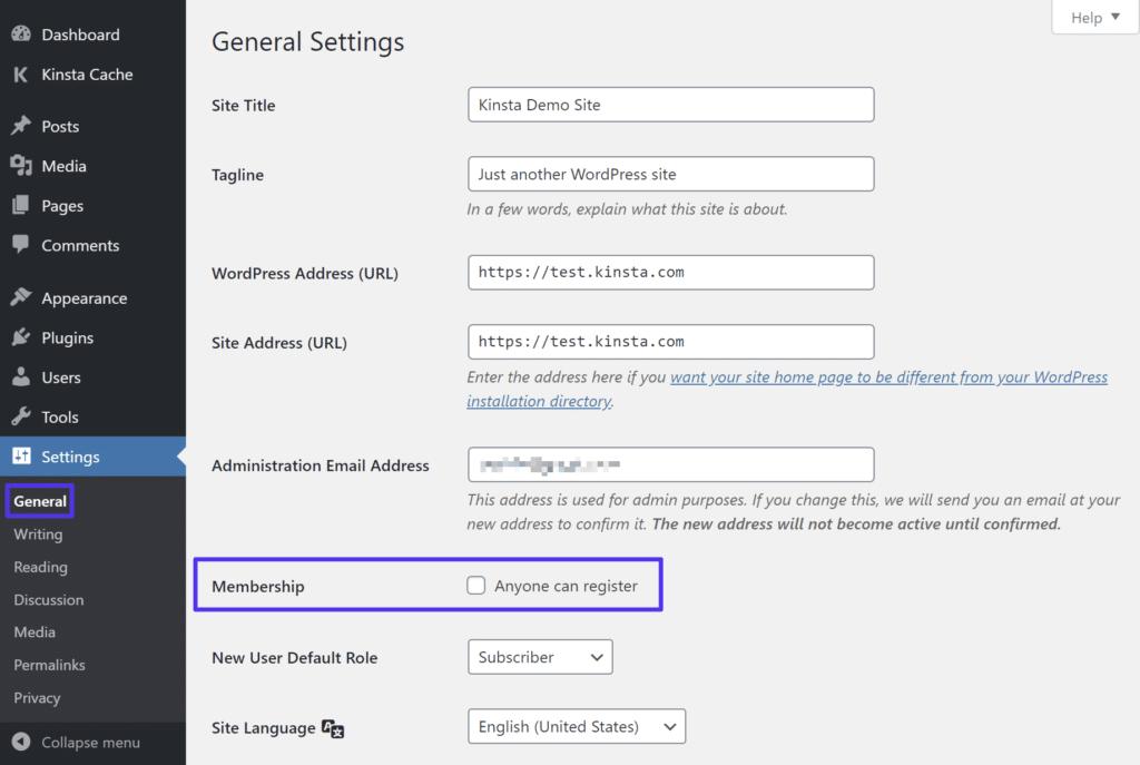 Inaktivera WP-registrering
