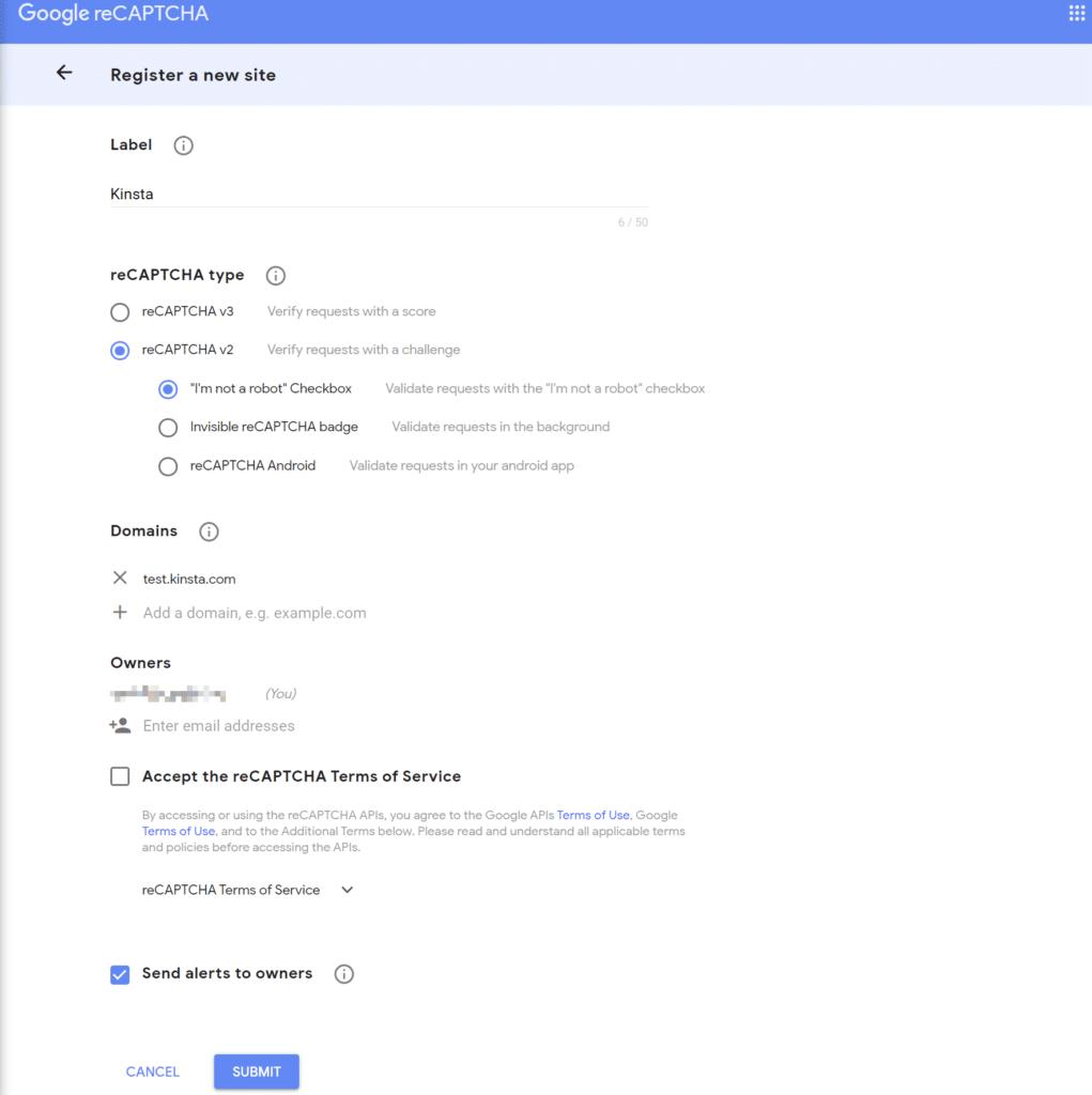 Skapa reCAPTCHA API-nyckel