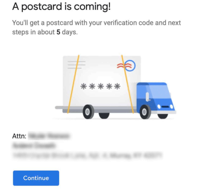 Verifiering av vykort för Google My Business
