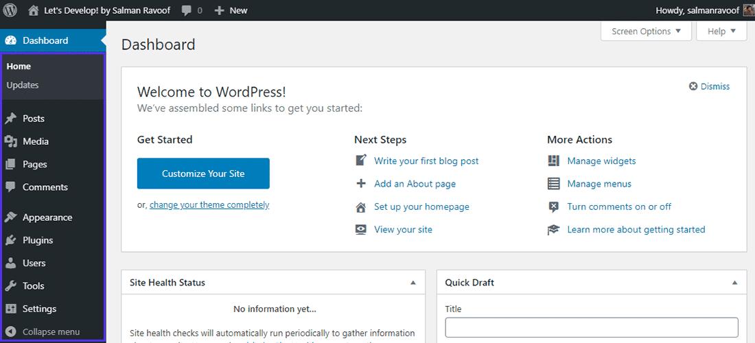 WordPress standard-adminpanel