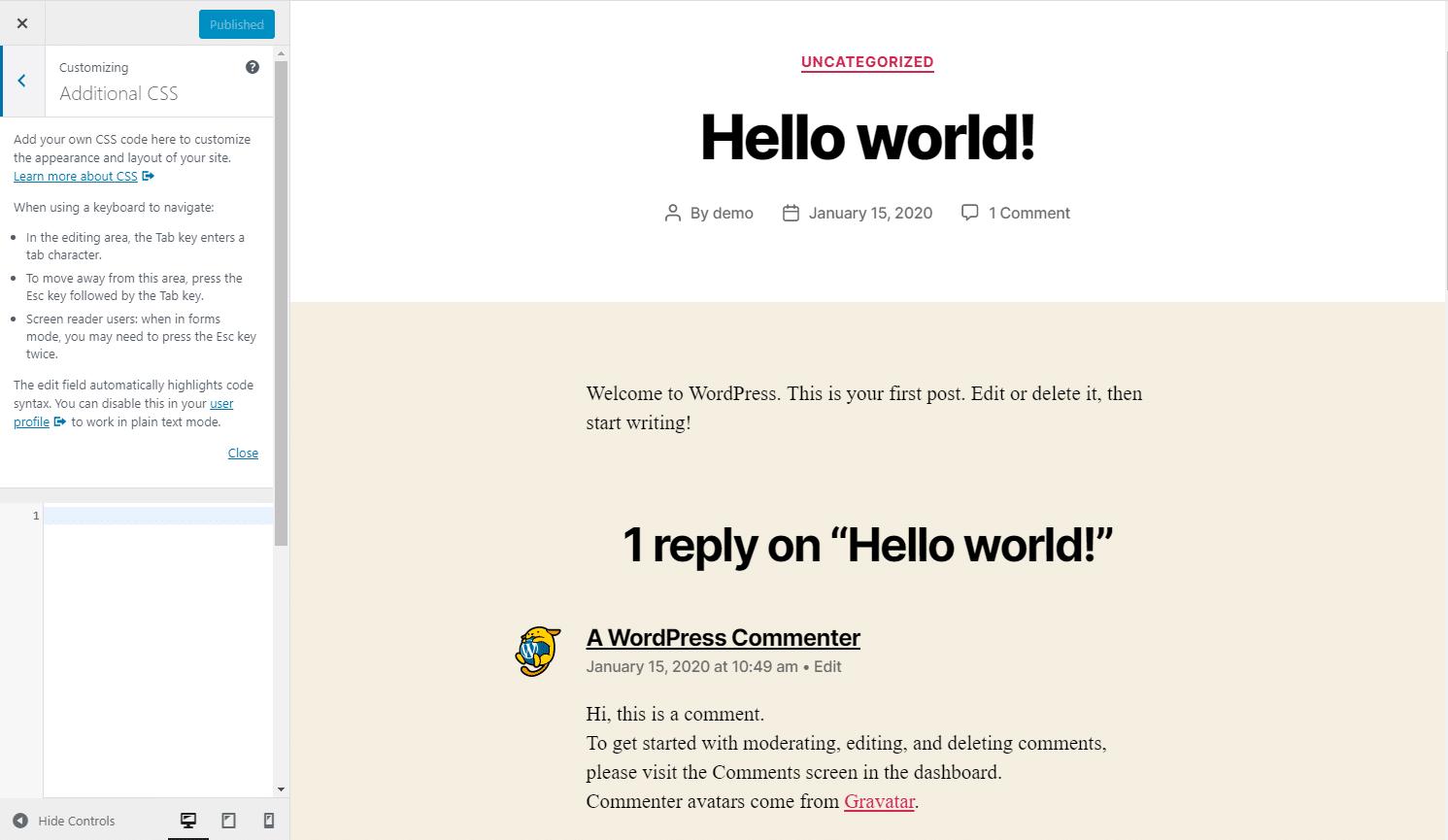 Ytterligare CSS i WordPress