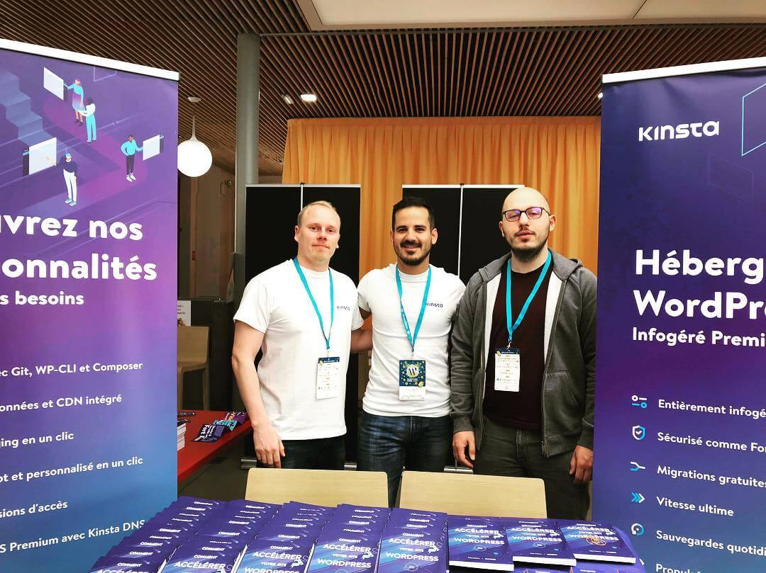 The Kinsta booth at WordCamp Paris