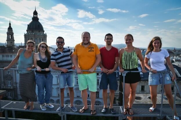 Kinsta team on the office roof