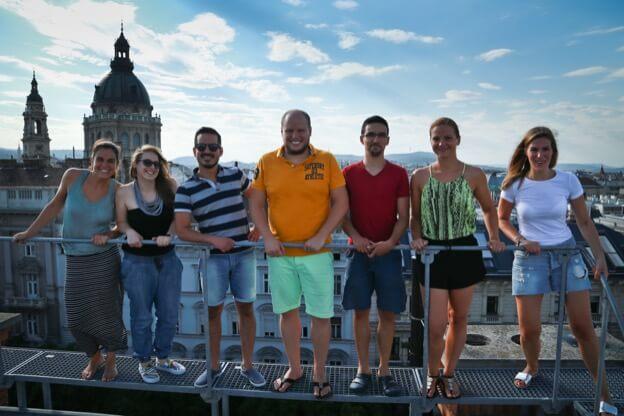 Kinsta team on the office roof
