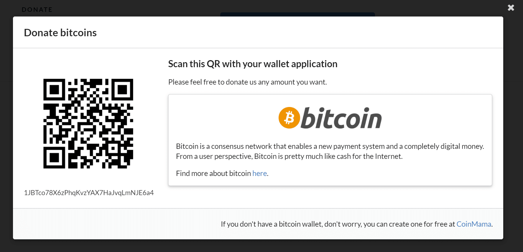 Bitcoin donate box