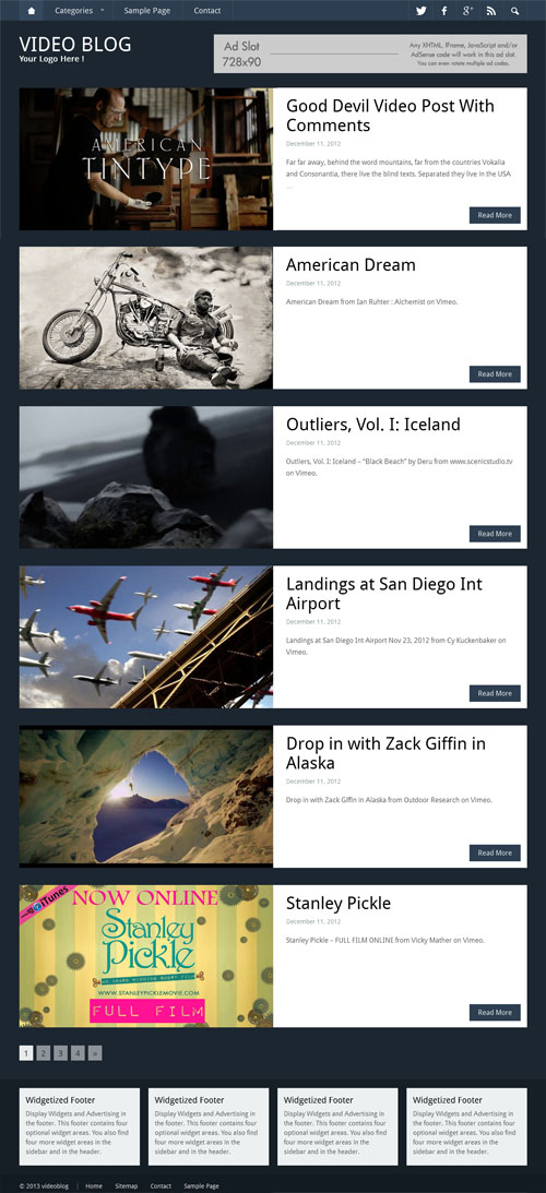 video blog theme