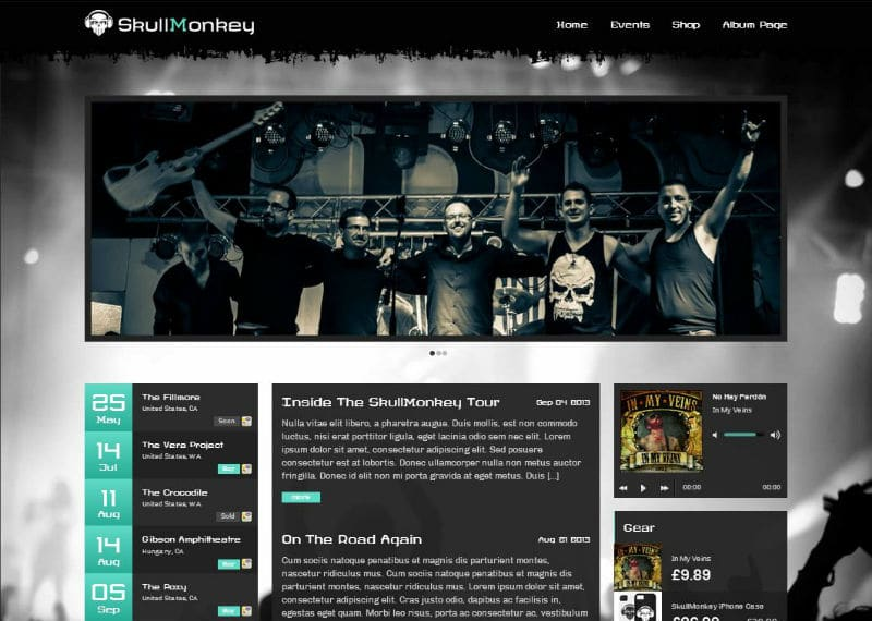 rock band wordpress theme