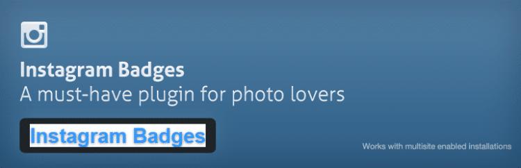 Instagram Badges plugin for wordpress