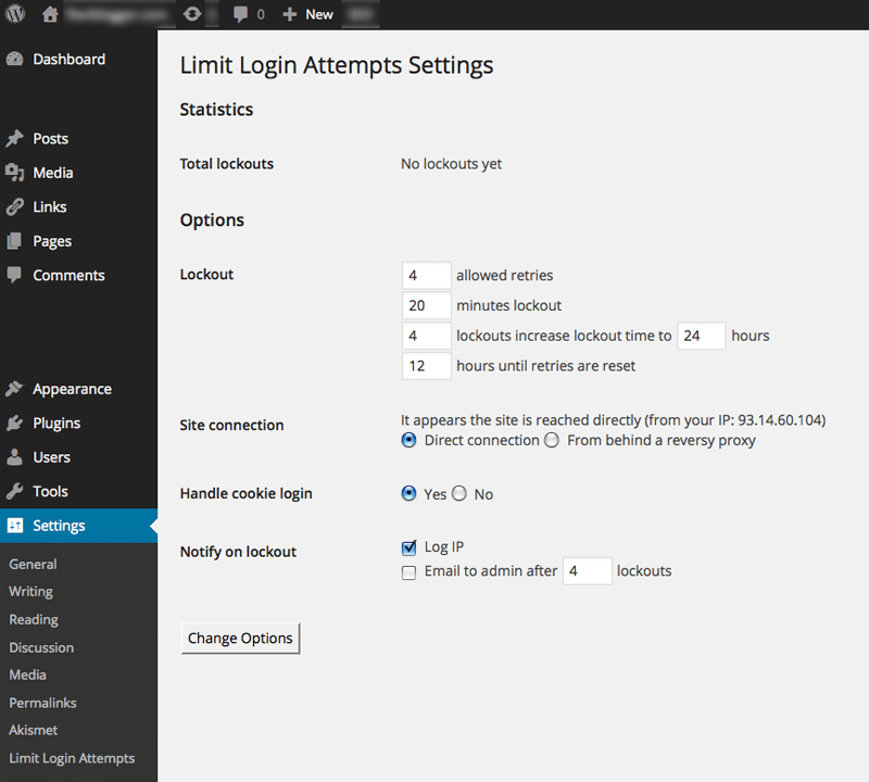 Setting up limit login attempts